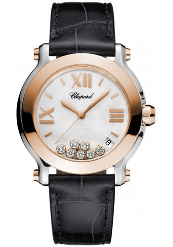 Chopard Watches - Happy Sport Round Medium Steel and Gold - Style No: 278492-9004