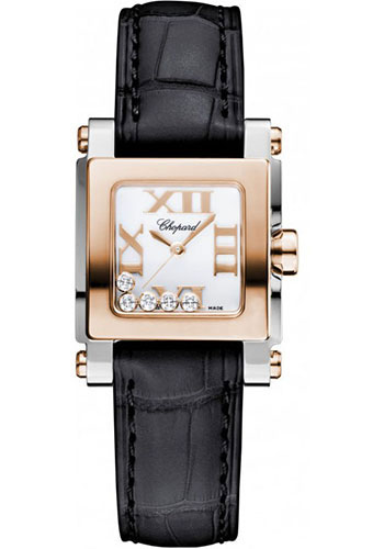 Chopard Watches - Happy Sport Square Mini Steel and Gold - Style No: 278516-6001