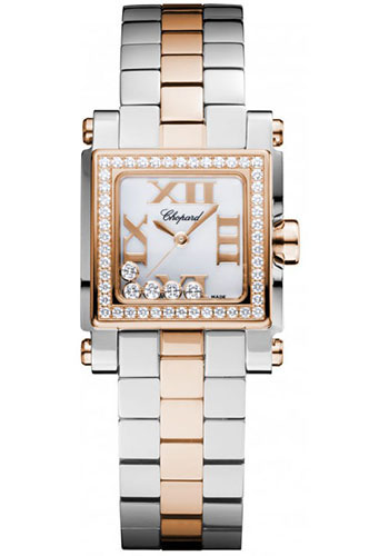 Chopard Watches - Happy Sport Square Mini Steel and Gold - Style No: 278516-6004