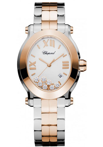 Chopard Watches - Happy Sport Oval Steel and Gold - Style No: 278546-6003