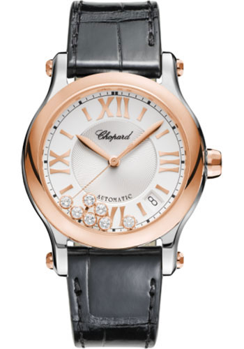 Chopard Watches - Happy Sport Round - 36mm - Steel and Rose Gold - Style No: 278559-6001