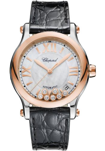 Chopard Watches - Happy Sport Round - 36mm - Steel and Rose Gold - Style No: 278559-6008