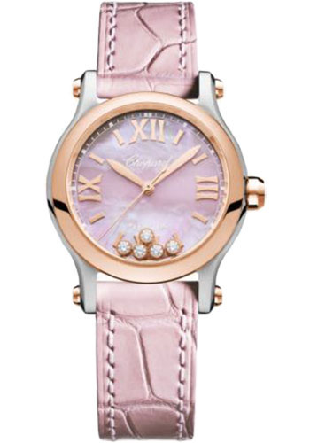 Chopard Watches - Happy Sport Round - 30mm - Steel and Rose Gold - Style No: 278573-6011