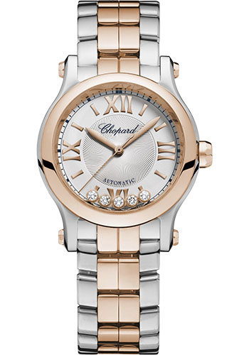 Chopard Watches - Happy Sport Round - 30mm - Steel and Rose Gold - Style No: 278573-6014