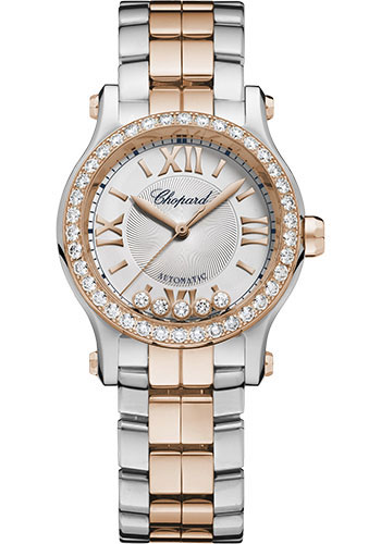 Chopard Watches - Happy Sport Round - 30mm - Steel and Rose Gold - Style No: 278573-6016