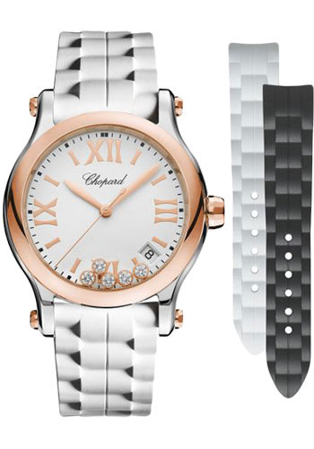 Chopard Watches - Happy Sport Round - 36mm - Steel and Rose Gold - Style No: 278582-6001