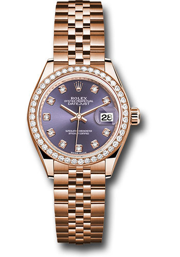 Rolex Watches - Datejust Lady 28 Everose Gold - Diamond Bezel - Jubilee Bracelet - Style No: 279135RBR adj