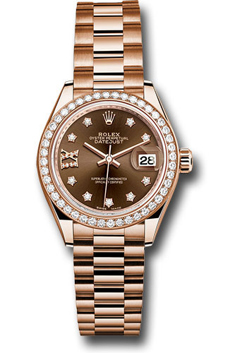Rolex Watches - Datejust Lady 28 Everose Gold - Diamond Bezel - President Bracelet - Style No: 279135RBR cho9dix8dp