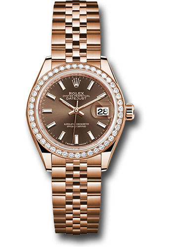 Rolex Watches - Datejust Lady 28 Everose Gold - Diamond Bezel - Jubilee Bracelet - Style No: 279135RBR choij