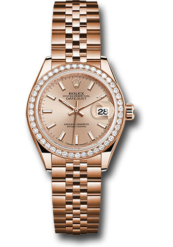 Rolex Watches - Datejust Lady 28 Everose Gold - Diamond Bezel - Jubilee Bracelet - Style No: 279135RBR pij