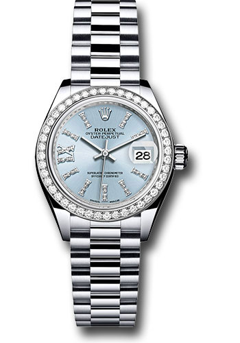 Rolex Watches - Datejust Lady 28 Platinum - Diamond Bezel - President Bracelet - Style No: 279136RBR ib36dix8dp