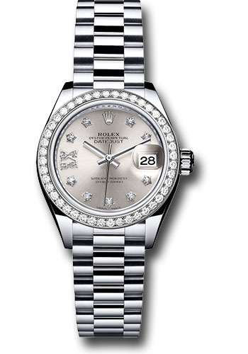 Rolex Datejust Lady 28 Pt Dia Bez President Bracelet Watches