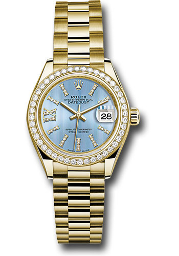 Rolex Yellow Gold Lady,Datejust 28 Watch , 44 Diamond Bezel , Cornflower  Blue Stripe Diamond Index Dial , President Bracelet , 279138RBR cbls36dix8dp