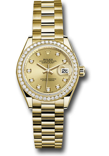 Rolex Watches - Datejust Lady 28 Yellow Gold - Diamond Bezel - President Bracelet - Style No: 279138RBR chdp