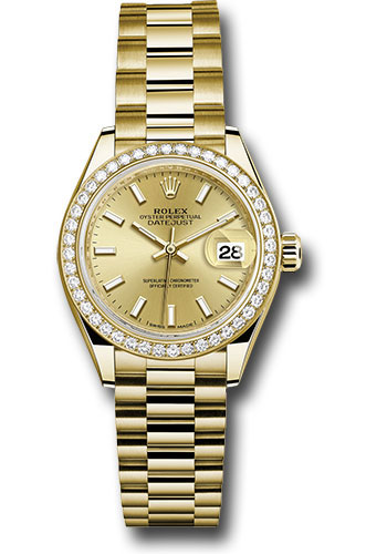 Rolex Watches - Datejust Lady 28 Yellow Gold - Diamond Bezel - President Bracelet - Style No: 279138RBR chip