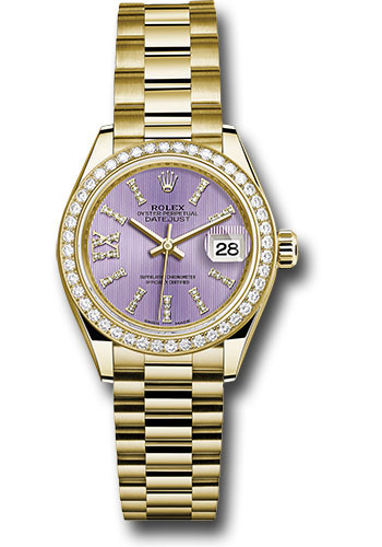 Rolex Watches - Datejust Lady 28 Yellow Gold - Diamond Bezel - President Bracelet - Style No: 279138RBR lils36dix8dp