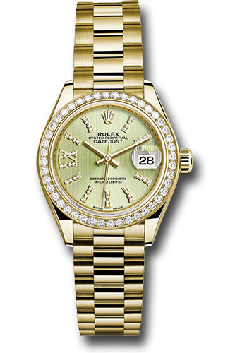Rolex Watches - Datejust Lady 28 Yellow Gold - Diamond Bezel - President Bracelet - Style No: 279138RBR lings36dix8dp