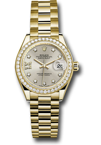 Rolex Watches - Datejust Lady 28 Yellow Gold - Diamond Bezel - President Bracelet - Style No: 279138RBR s9dix8dp