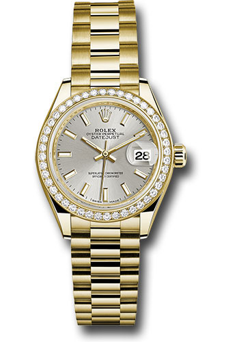 Rolex Watches - Datejust Lady 28 Yellow Gold - Diamond Bezel - President Bracelet - Style No: 279138RBR sip