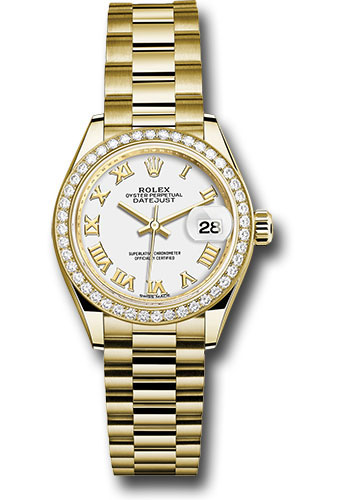 Rolex Watches - Datejust Lady 28 Yellow Gold - Diamond Bezel - President Bracelet - Style No: 279138RBR wrp