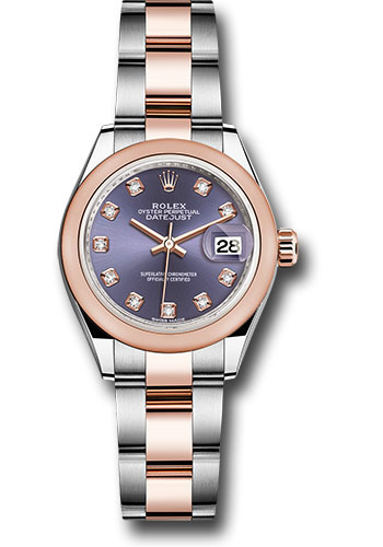 Rolex Watches - Datejust Lady 28 Steel and Everose Gold - Domed Bezel - Oyster - Style No: 279161 audo