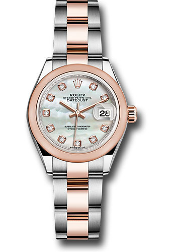 Rolex Watches - Datejust Lady 28 Steel and Everose Gold - Domed Bezel - Oyster - Style No: 279161 mdo