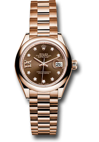 Rolex Watches - Datejust Lady 28 Everose Gold - Domed Bezel - President Bracelet - Style No: 279165 cho9dix8dp