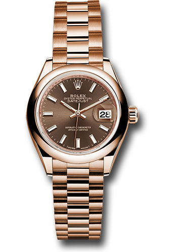 Rolex Watches - Datejust Lady 28 Everose Gold - Domed Bezel - President Bracelet - Style No: 279165 choip
