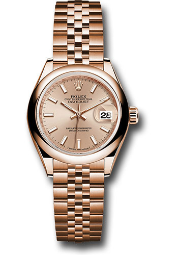 Rolex Watches - Datejust Lady 28 Everose Gold - Domed Bezel - Jubilee Bracelet - Style No: 279165 pij