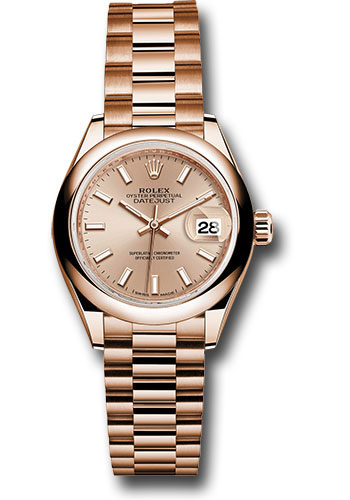 Rolex Watches - Datejust Lady 28 Everose Gold - Domed Bezel - President Bracelet - Style No: 279165 pip