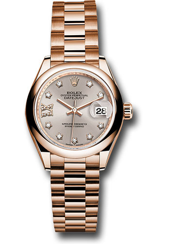 Rolex Watches - Datejust Lady 28 Everose Gold - Domed Bezel - President Bracelet - Style No: 279165 s9dix8dp