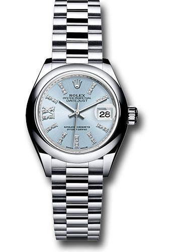 Rolex Platinum Lady,Datejust 28 Watch , Domed Bezel , Ice Blue Diamond  Index Dial , President Bracelet , 279166 ib36dix8dp