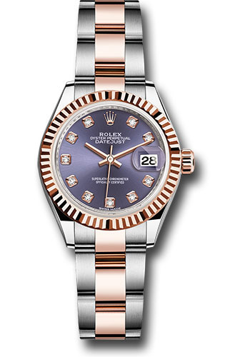 Rolex Watches - Datejust Lady 28 Steel and Everose Gold - Fluted Bezel - Oyster - Style No: 279171 audo
