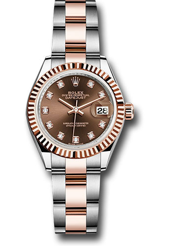 Rolex Watches - Datejust Lady 28 Steel and Everose Gold - Fluted Bezel - Oyster - Style No: 279171 chodo
