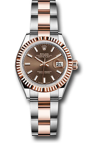 Rolex Watches - Datejust Lady 28 Steel and Everose Gold - Fluted Bezel - Oyster - Style No: 279171 choio