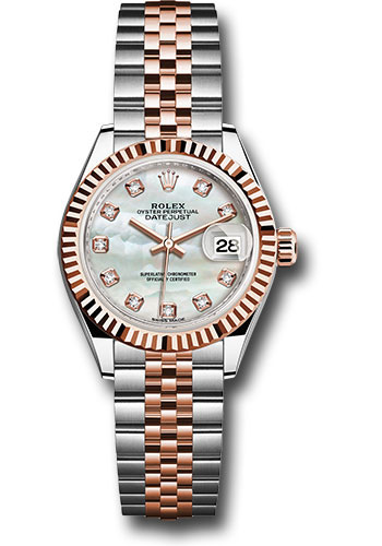 Rolex Watches - Datejust Lady 28 Steel and Everose Gold - Fluted Bezel - Jubilee - Style No: 279171 mdj