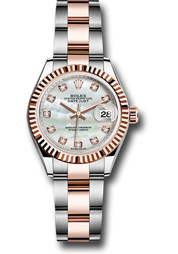 Rolex Watches - Datejust Lady 28 Steel and Everose Gold - Fluted Bezel - Oyster - Style No: 279171 mdo