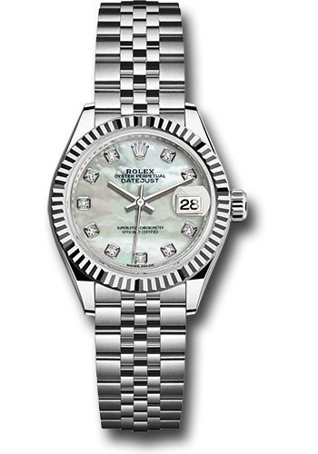 Rolex Watches - Datejust Lady 28 Stainless Steel - Fluted Bezel - Jubilee - Style No: 279174 mdj