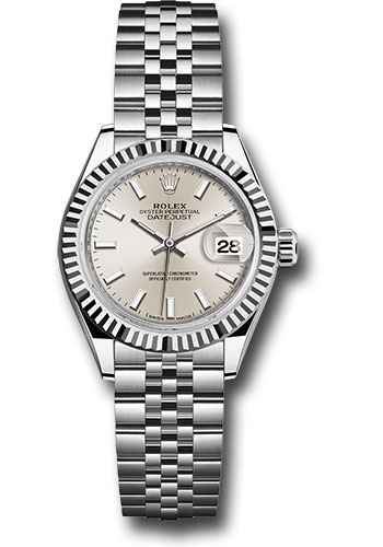 Rolex Watches - Datejust Lady 28 Stainless Steel - Fluted Bezel - Jubilee - Style No: 279174 sij