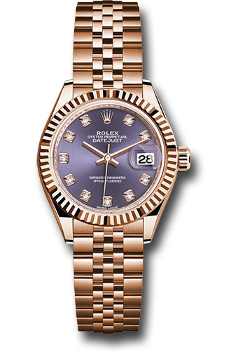 Rolex Watches - Datejust Lady 28 Everose Gold - Flluted Bezel - Jubilee Bracelet - Style No: 279175 adj