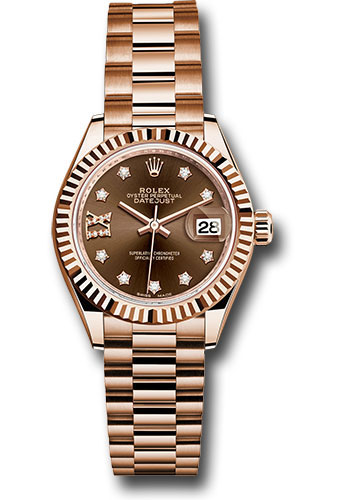 Rolex Watches - Datejust Lady 28 Everose Gold - Fluted Bezel - President Bracelet - Style No: 279175 cho9dix8dp