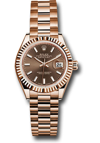 Rolex Watches - Datejust Lady 28 Everose Gold - Fluted Bezel - President Bracelet - Style No: 279175 choip