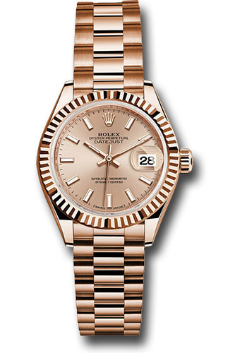 Rolex Watches - Datejust Lady 28 Everose Gold - Fluted Bezel - President Bracelet - Style No: 279175 pip