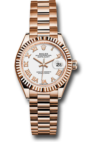 Rolex Watches - Datejust Lady 28 Everose Gold - Fluted Bezel - President Bracelet - Style No: 279175 wrp