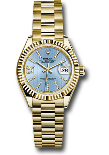 Rolex Watches - Datejust Lady 28 Yellow Gold - Fluted Bezel - President Bracelet - Style No: 279178 cbls36dix8dp