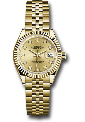 Rolex Watches - Datejust Lady 28 Yellow Gold - Fluted Bezel - Jubilee Bracelet - Style No: 279178 chdj