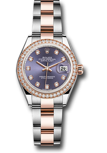 Rolex Watches - Datejust Lady 28 Steel and Everose Gold - Diamond Bezel - Oyster - Style No: 279381RBR audo
