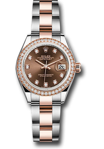 Rolex Watches - Datejust Lady 28 Steel and Everose Gold - Diamond Bezel - Oyster - Style No: 279381RBR chodo