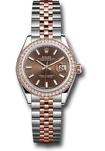 Rolex Watches - Datejust Lady 28 Steel and Everose Gold - Diamond Bezel - Jubilee - Style No: 279381RBR choij