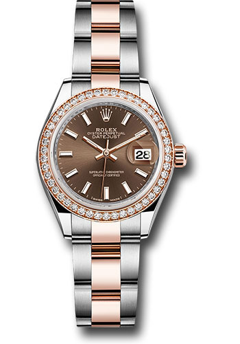 Rolex Watches - Datejust Lady 28 Steel and Everose Gold - Diamond Bezel - Oyster - Style No: 279381RBR choio